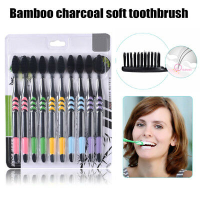 10PCS/set Ultra Soft Bamboo Charcoal Nano Toothbrush Kit Dental Care Daily Care
