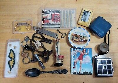Junk Drawer Lot of Military Pins Key Chain Bottle Opener Radio Photographs +