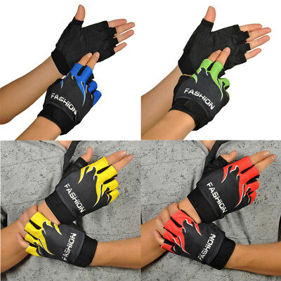 1Pair Sports Bicycle Cycling Hiking Gel Half Finger Fingerless Gloves Protected