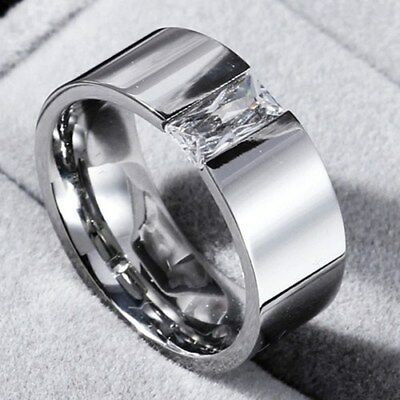 8mm Smooth Single CZ Band Men Women's 316L Stainless Steel Silver Ring Size 6-12