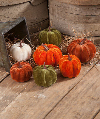 Bethany Lowe Small Velveteen Pumpkins in Bag ~  Set of 7  ~  FREE SHIPPING