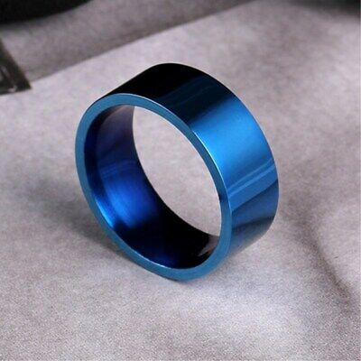 8mm Titanium Steel Blue/Gold/Silver/Rainbow Bands Men's Polished Ring Size 7-12