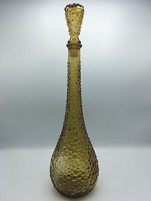 Decanter Genie Bottle Mid Century Amber Glass Empoli Italy Tall Bubble Vintage