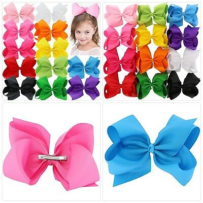 BIG 8 Inches Hair Bows For Girls Grosgrain Boutique Hair Bow Clips For Teens Kid