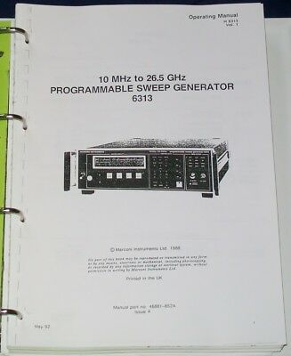 AEROFLEX MARCONI 6313 series sweep generator 6310 6312 6300 OPS/SVC manual COPY