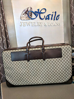 2fde3322fcd1 AUTHENTIC VINTAGE GUCCI SUITCASE - Brown Leather GG Monogram Luggage ...