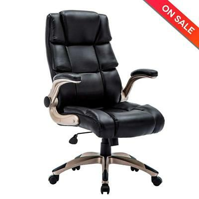 KADIRYA Ergonomic High Back Leather Office Chair - Adjustable Padded Flip-up NEW