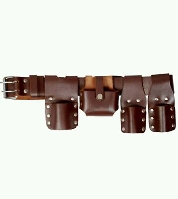 scaffolding brown leather tool belt set 2 frogs level holder tape ...