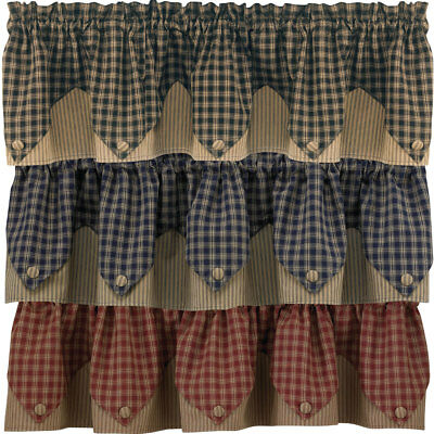 Sturbridge Plaid Lined Point Valance 72x15 Black, Wine, or Navy