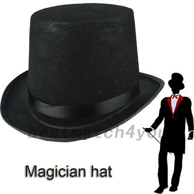 Adult Tall Stain Bell Top Hat Fancy Dress Victory Ringmaster Magician Hat Black