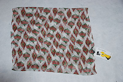 CEJON Womens White/Red/Green Sheer Polyester Christmas Ornament Scarf NWT
