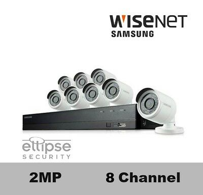 SDH-B74043BF-8B Wisenet 8 Channel HD Security Camera System, 8 Bullet Cameras