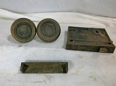 Vintage BRASS Door Knob AND Lock Mortise Mechanism with Keep