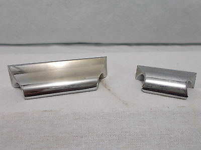 Qty 2 Vintage Retro HEAVY Chrome Plated DRAWER Cabinet DOOR Pulls Handles Brass