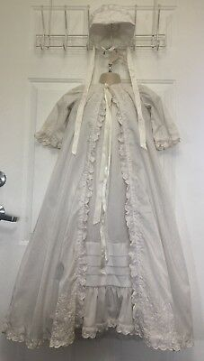 Vintage Christening Baptism Gown Dress 3 Piece Broderie Anglaise Embroidered Vtg