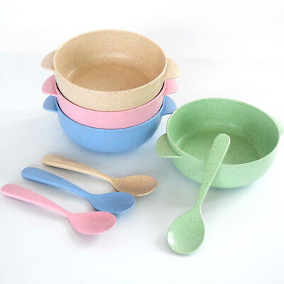 Natural Wheat Straw Baby Bowl Microwave Safe Children Tableware Spoon Set