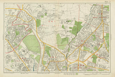 FINCHLEY/HENDON Mill Hill Hyde Golders Green Edgware Colindale. BACON 1934 map