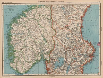 SCANDINAVIA. Norway and Sweden, Central. Railways. BARTHOLOMEW 1944 old map
