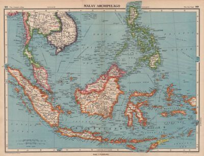 MALAY ARCHIPELAGO Franco-Thai war border changes. East Indies Indonesia 1944 map