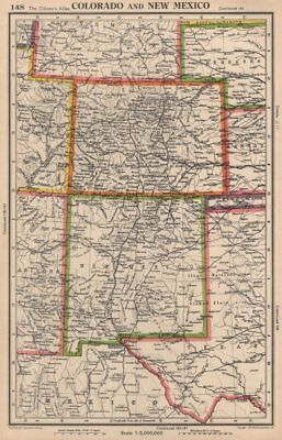 COLORADO AND NEW MEXICO. USA state map. BARTHOLOMEW 1944 old vintage chart