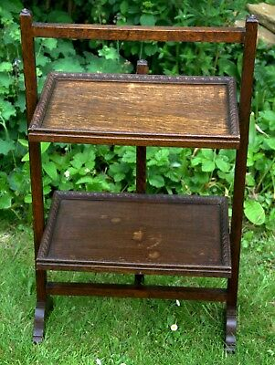 Antique 2 Tier Serving Tea Table Folding Butlers Buffet Cake Stand