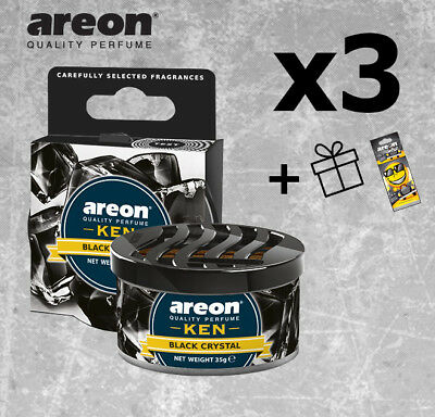 3x Areon Ken *Black Crystal*  Car Air Freshener Quality Perfume + Free Gift