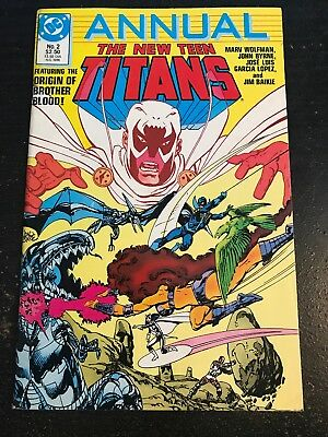 New Teen Titans Annual#2 Awesome Condition 8.0(1986) Brother Blood Origin!!