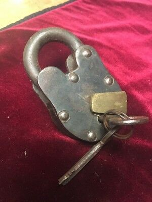 Huge Old Vtg Antique Collectible Cast Iron Padlock Lock With Key C#1