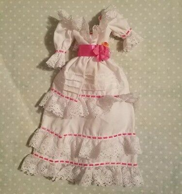Barbie Doll Clothing White & Pink Victorian Dress Ruffles Lace Flower