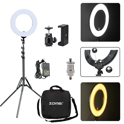 "14"" LED Ring Light 50W Dimmable warm white brightness with Universal Phone Clamp"
