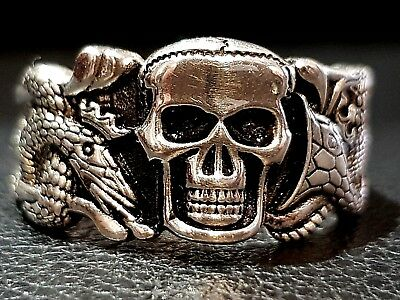 STERLING SILVER RING Vintage Solid 925 Man's Skull and Snake Rocker Punk Jewelry