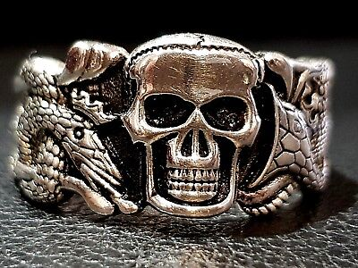 Vintage Jewelry SOLID 925 STERLING SILVER Man's Skull and Snake Ring