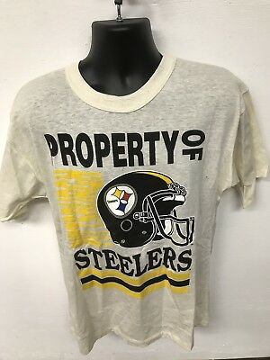 Vintage Pittsburgh Steelers Large T-Shirt By Garan 80s Off White