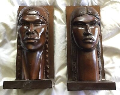 VINTAGE Aymara Bolivian Indian HUGE Carved Wood Head Bookends Arias Or Ramirez?