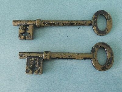 """Pair Of Genuine Antique Large Brass Keys - 6"""" And 5.5"""" Long"""