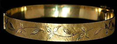 Vintage 14kt Yellow Gold Bangle Bracelet W/ Hinge, Safety Clasp & Chain 27.89gr