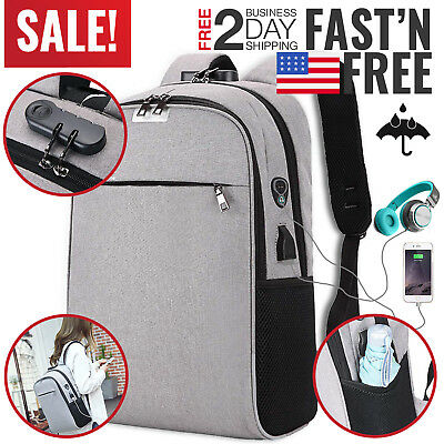 Anti Theft Backpack Travel Laptop Computer Waterproof USB Charging Business