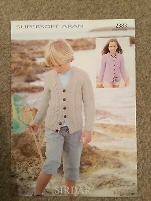 "Sirdar Supersoft Aran Knitting Pattern 2383 Girls Boys Cardigan 22""-32"" (2963) M"