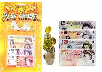 Kids Children's Play Fake Pretend Money Role Shops Cash £ Pound Notes Coins Toy