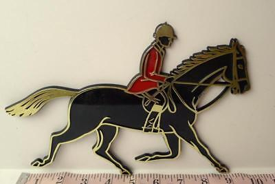 Show jumper Black Horse Adhesive Decal Plaque 1966 Vintage UK Jumping Horses