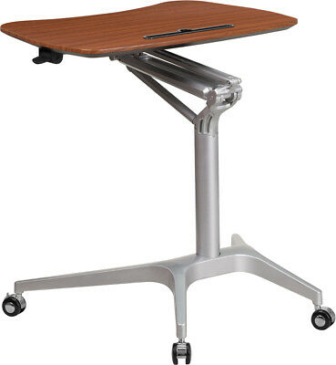 Adjustable Mobile Sit-Down & Stand-Up Computer Desk in Mahogany w/28.75''W Top
