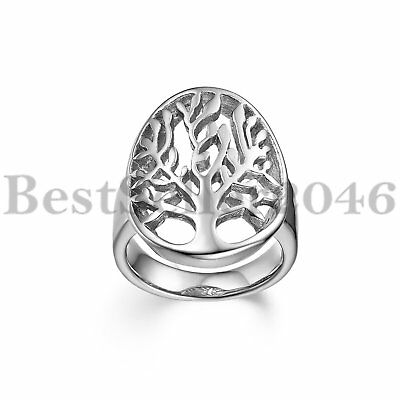 Men Women Polished Hollow Tree of Life Stainless Steel Wedding Ring Size 5-12