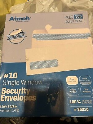 Aimoh #10 QUICK SEAL Security Window Premium Business Envelopes Inches White 500