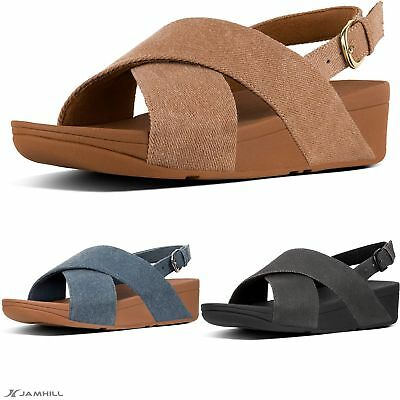 8e3ad7345347 FITFLOP WOMEN S LULU Cross Back-Strap Shimmer Denim Sandals - £46.15 ...
