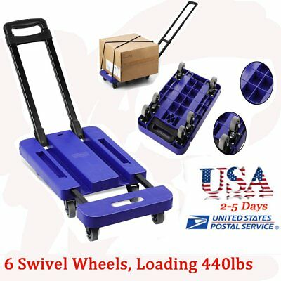 Folding 440LB Hand Truck Dolly Collapsible Cart Luggage Trolley & 6 Wheels OY