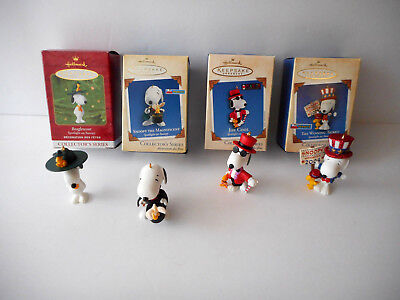 Lot Of 4 Hallmark Ornaments Snoopy All New In Box
