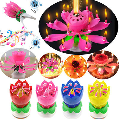 Musical Lotus Flower Song Candle Birthday Party Decoration Cake Topper Blossom