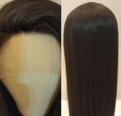 AU STOCK 24'' Lace Front Wig Heat Safe Synthetic Hair Long Silky Straight Brown