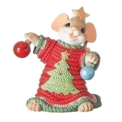 Charming Tails Christmas Mouse with Ugly Sweater & Ornaments New 2018 131634