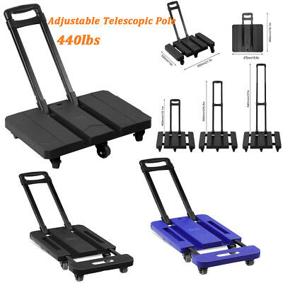 Foldable 440LB Hand Truck Dolly Collapsible Cart Luggage Trolley with 6 Wheels